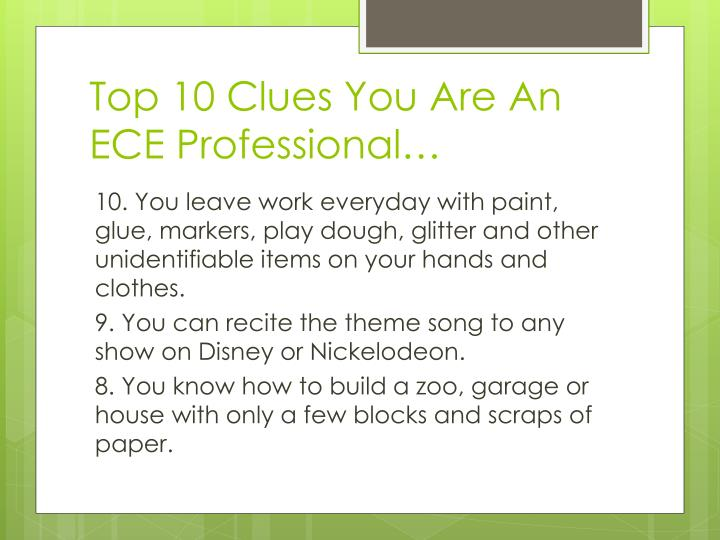 Top 10 clues you are an ece professional