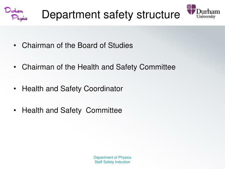 Department safety structure