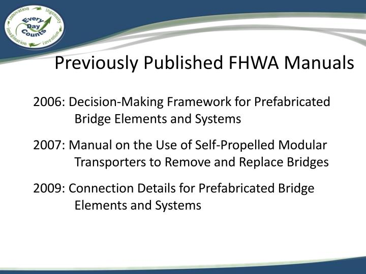 Previously Published FHWA Manuals