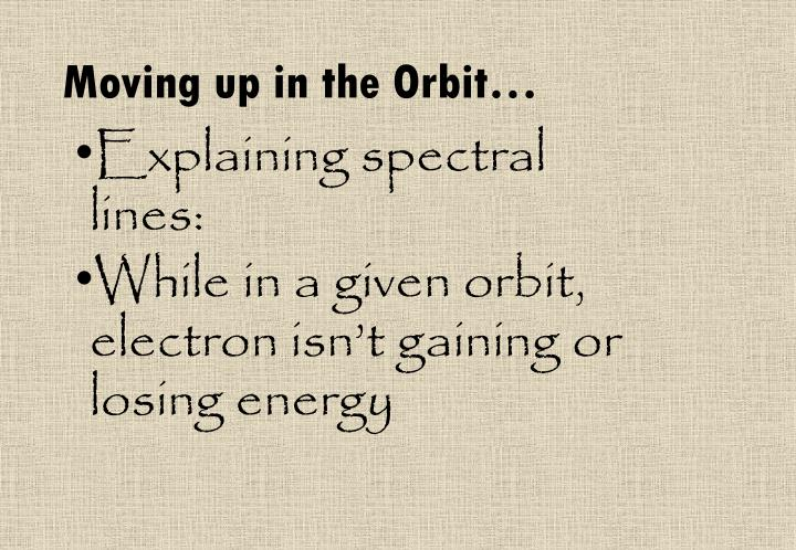 Moving up in the Orbit…