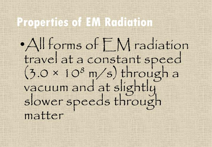 Properties of EM Radiation