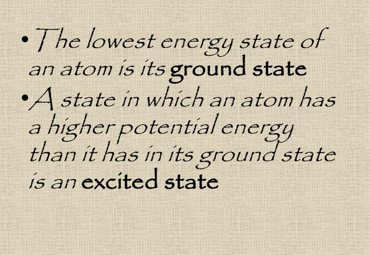 The lowest energy state of an atom is its