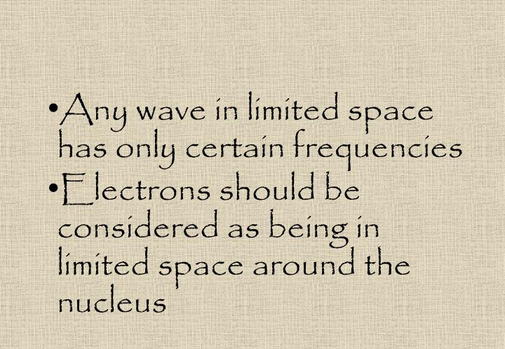 Any wave in limited space has only certain frequencies