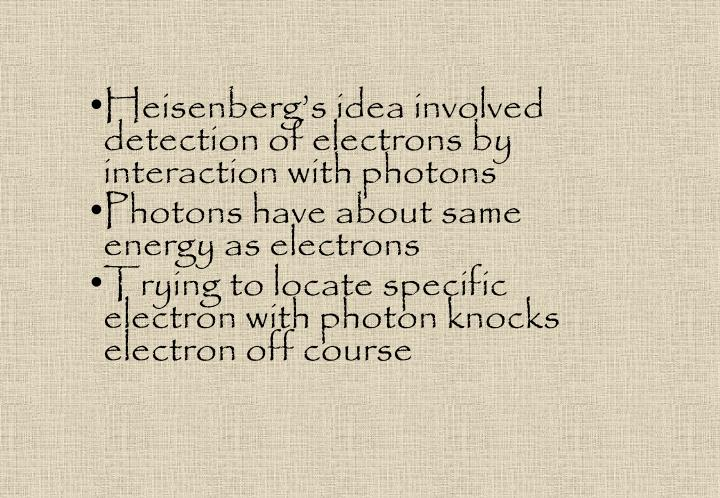 Heisenberg's idea involved detection of electrons by interaction with photons