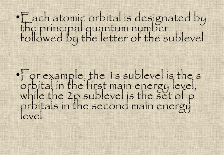 Each atomic orbital is designated by the principal quantum number followed by the letter of the sublevel