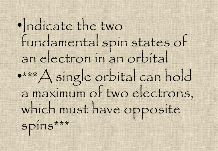 Indicate the two  fundamental spin states of an electron in an