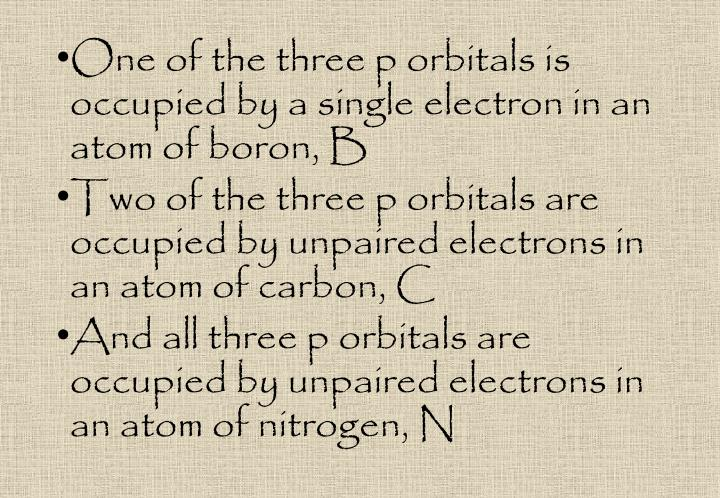 One of the three p orbitals is occupied by a single electron in an atom of boron,