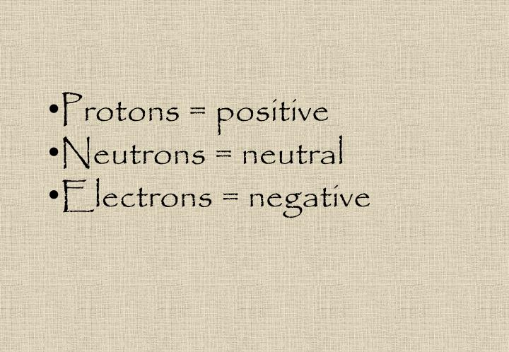 Protons = positive