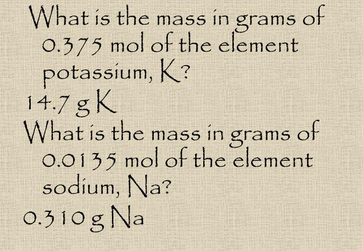 What is the mass in grams of 0.375