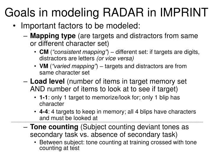 Goals in modeling RADAR in IMPRINT
