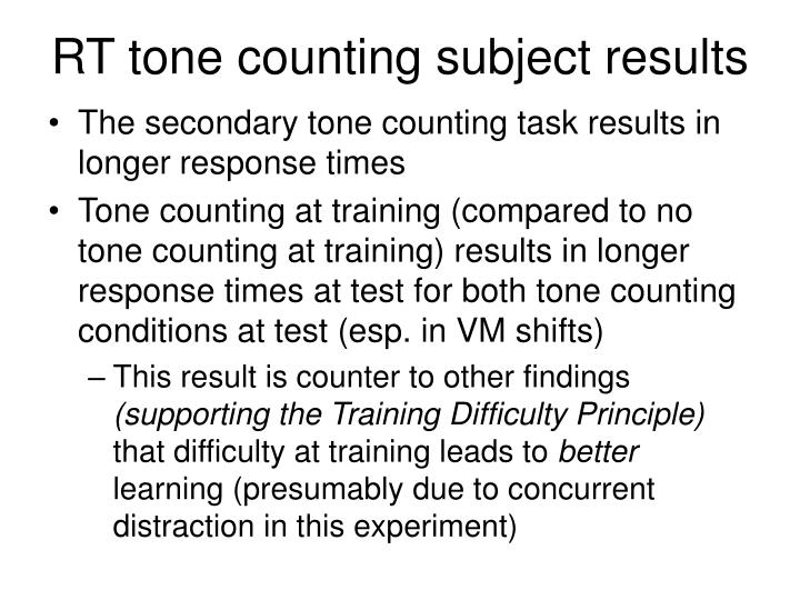 RT tone counting subject results