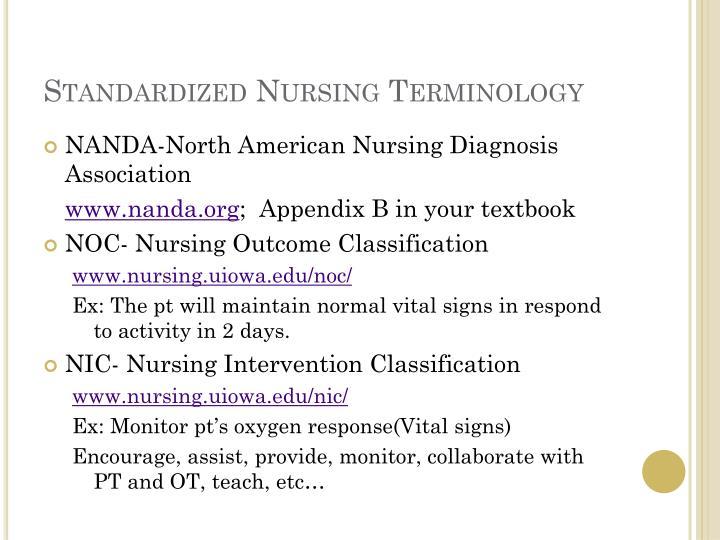 Standardized Nursing Terminology