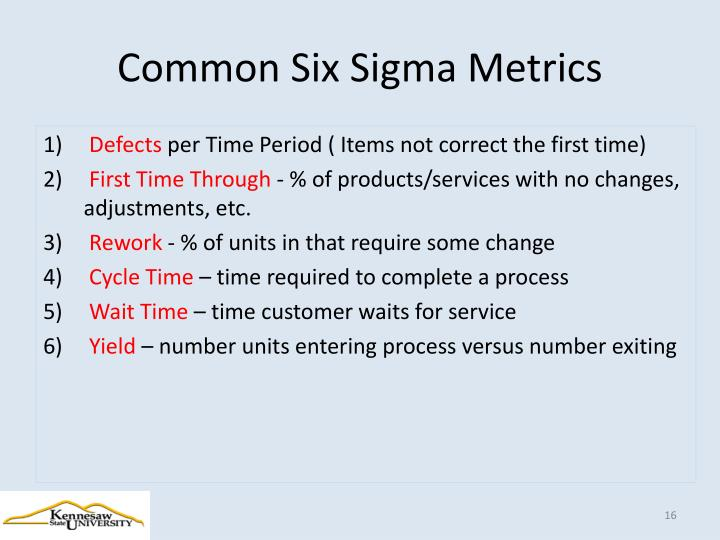Common Six Sigma Metrics