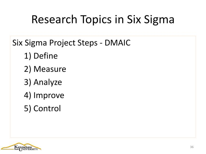 Research Topics in Six Sigma