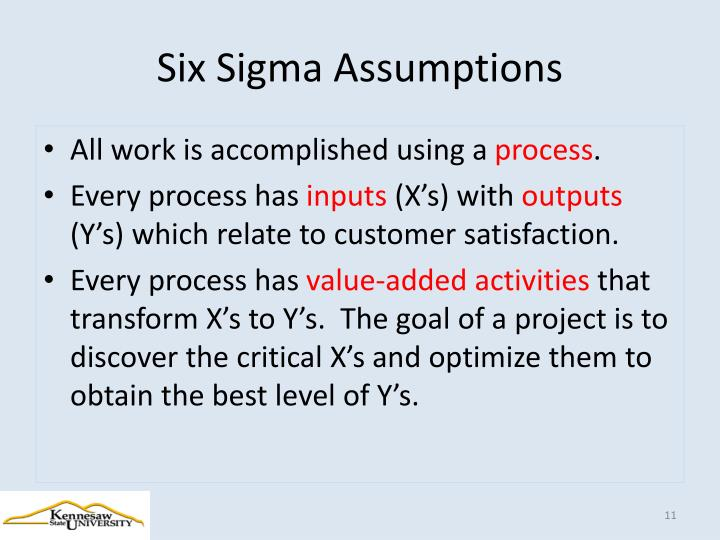 Six Sigma Assumptions