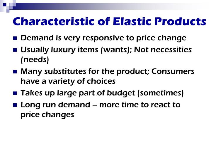 Characteristic of elastic products