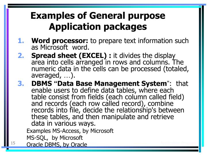 Examples of General purpose Application packages