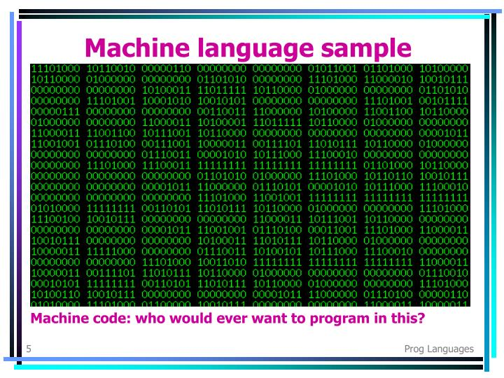 Machine language sample