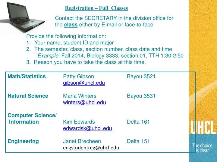 Registration – Full  Classes