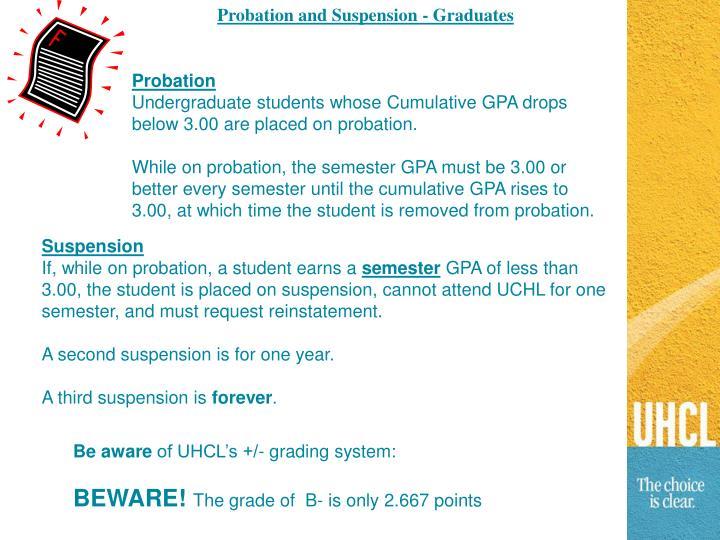 Probation and Suspension - Graduates