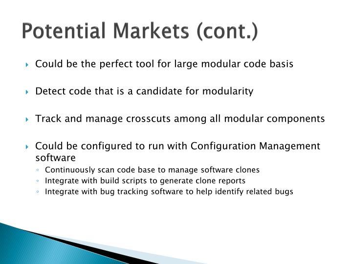 Potential Markets (cont.)