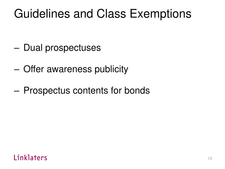 Guidelines and Class Exemptions