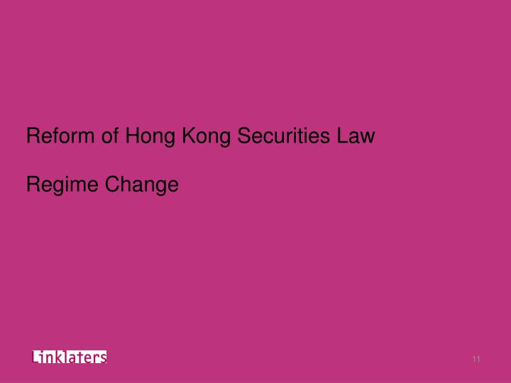 Reform of Hong Kong Securities Law