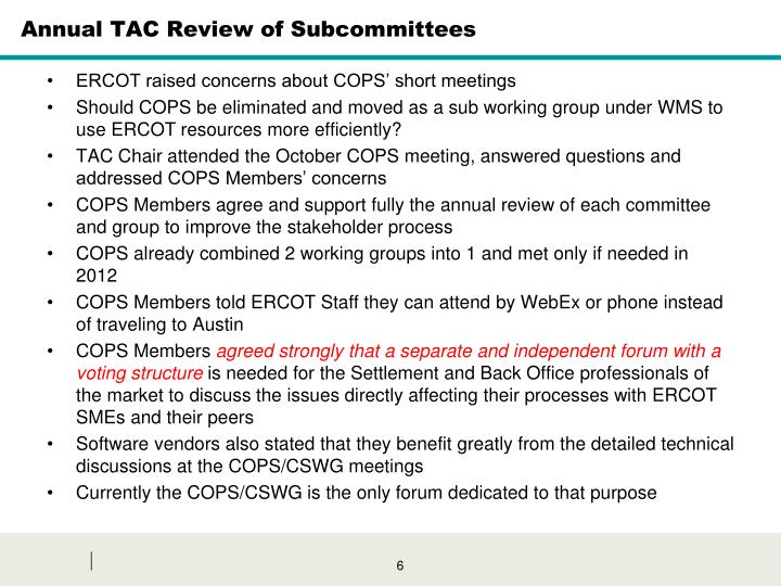 Annual TAC Review of Subcommittees