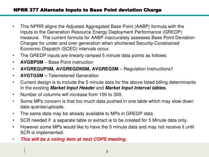 Nprr 377 alternate inputs to base point deviation charge