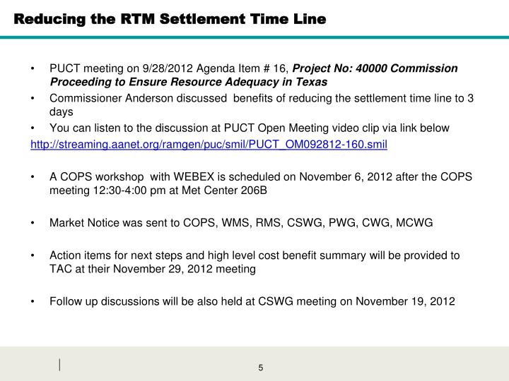 Reducing the RTM Settlement Time Line