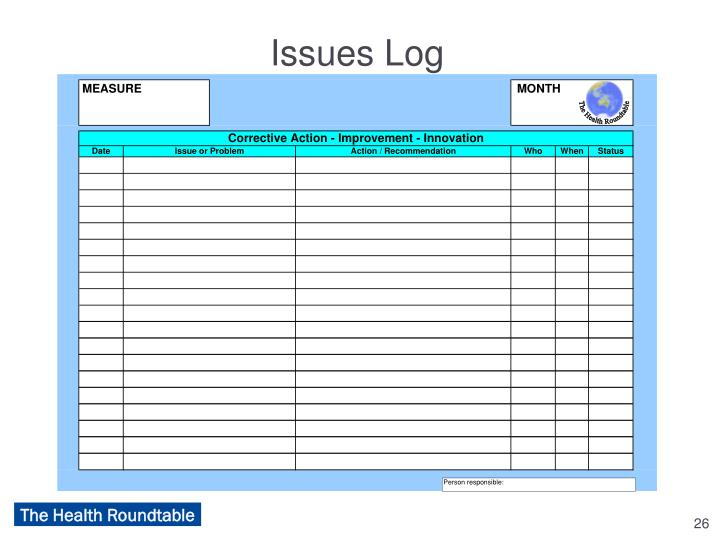 Issues Log