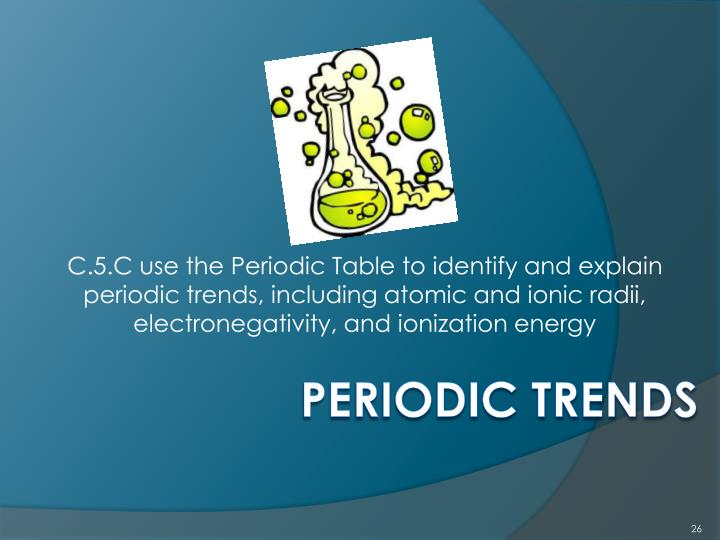 C.5.C use the Periodic Table to identify and explain periodic trends, including atomic and ionic radii, electronegativity, and ionization energy