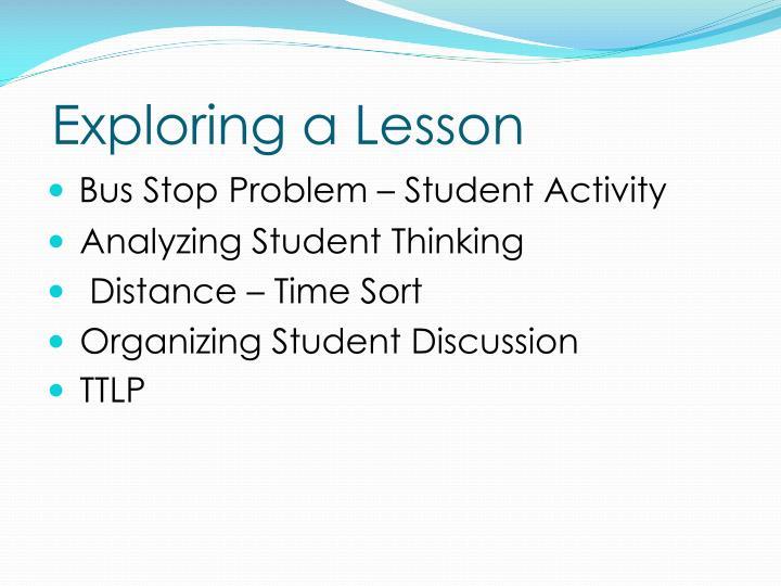 Exploring a Lesson