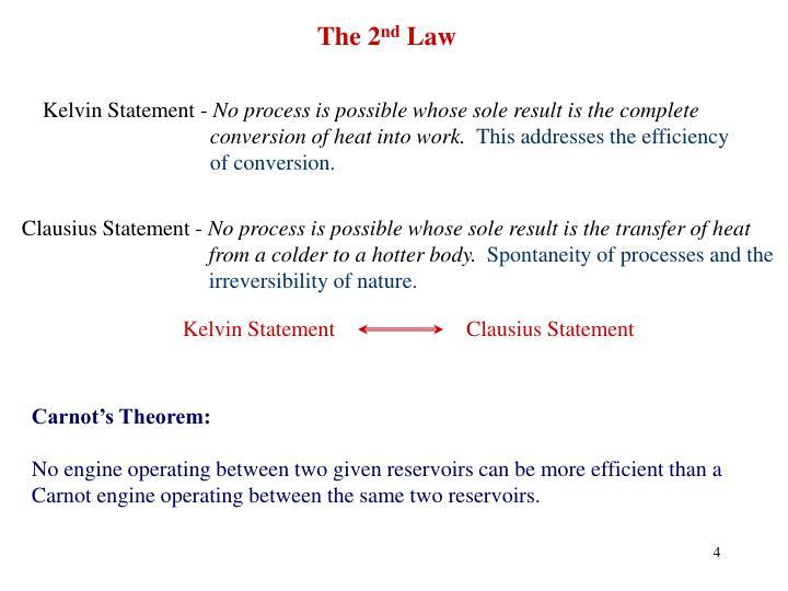 Kelvin Statement                        Clausius Statement