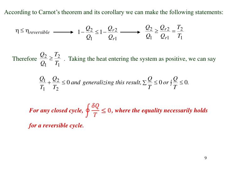 According to Carnot's theorem and its corollary we can make the following statements:
