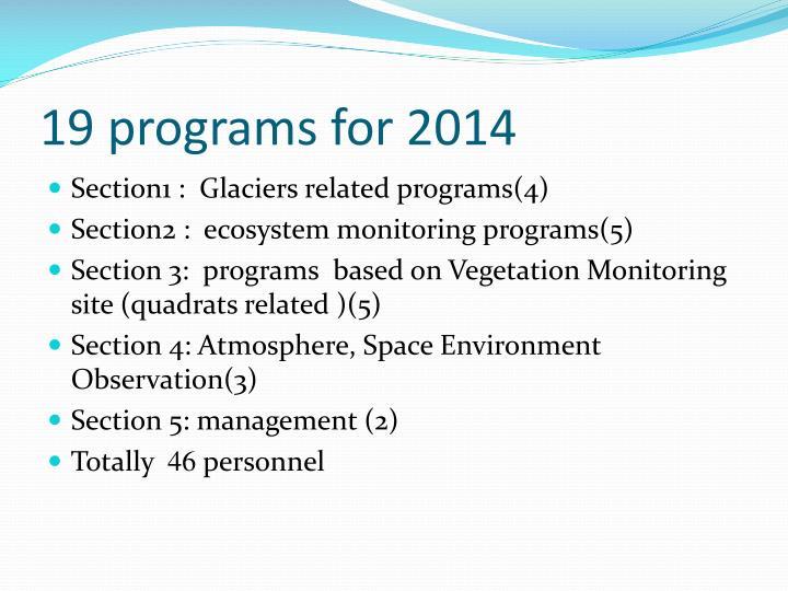 19 programs for 2014