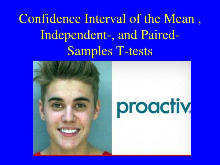 Confidence interval of the mean independent and paired samples t tests
