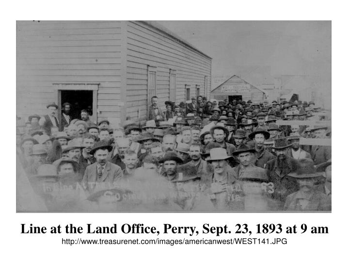 Line at the Land Office, Perry, Sept. 23, 1893 at 9 am