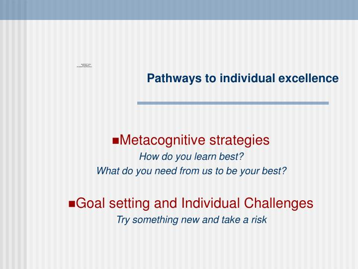 Pathways to individual excellence