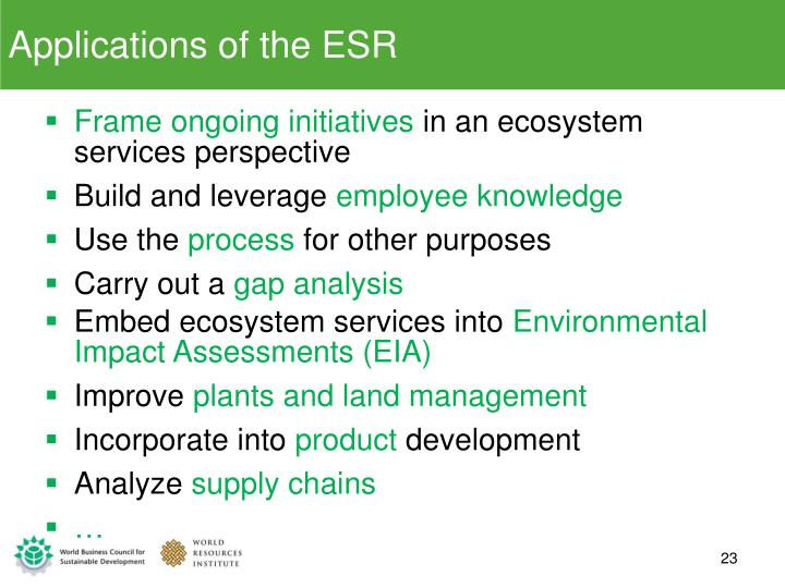 Applications of the ESR