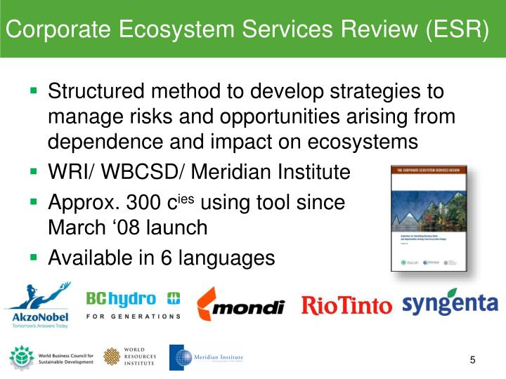 Corporate Ecosystem Services Review (ESR)