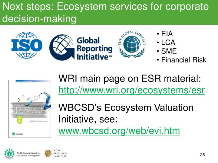 Next steps: Ecosystem services for corporate decision-making