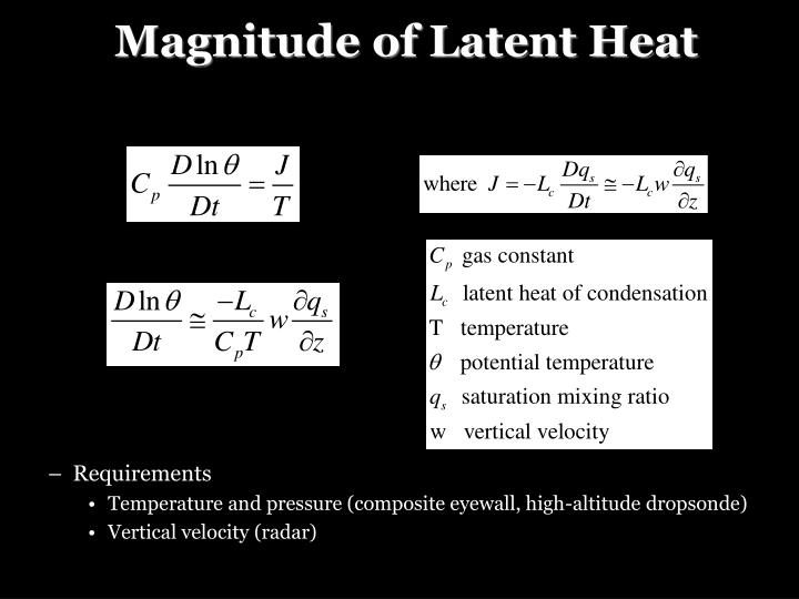 Magnitude of Latent Heat