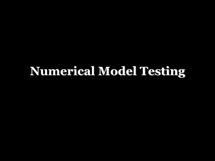Numerical Model Testing