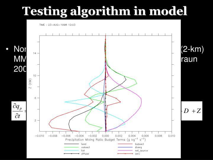 Testing algorithm in model