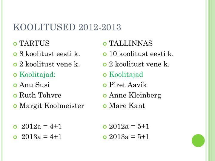 KOOLITUSED 2012-2013