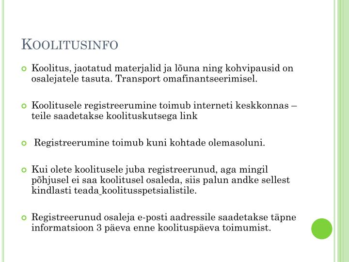 Koolitusinfo