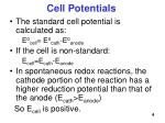cell potentials