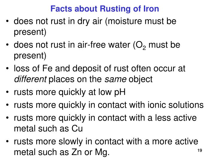 Facts about Rusting of Iron
