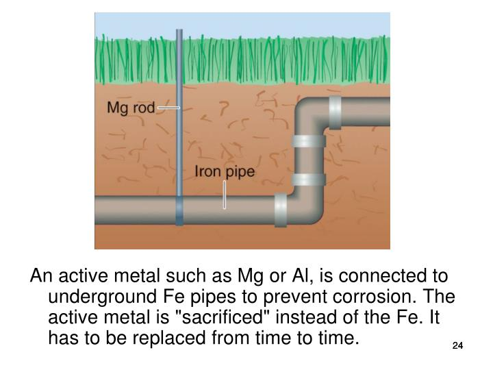 "An active metal such as Mg or Al, is connected to underground Fe pipes to prevent corrosion. The active metal is ""sacrificed"" instead of the Fe. It has to be replaced from time to time."